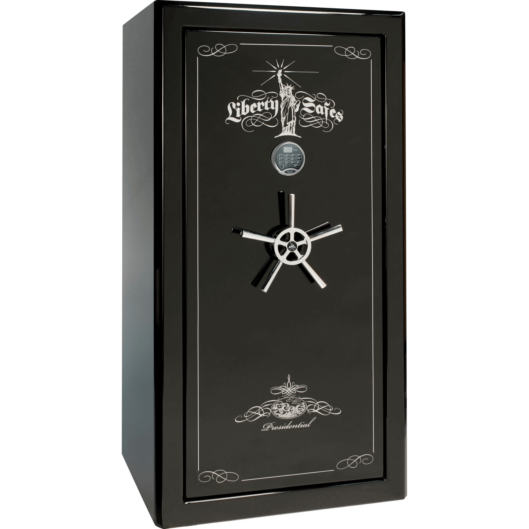 "Presidential Series | Level 8 Security | 2.5 Hours Fire Protection | Black Gloss | Mechanical Lock | 25 | Dimensions: 60.5""(H) x 30""(W) x 28.5""(D)"