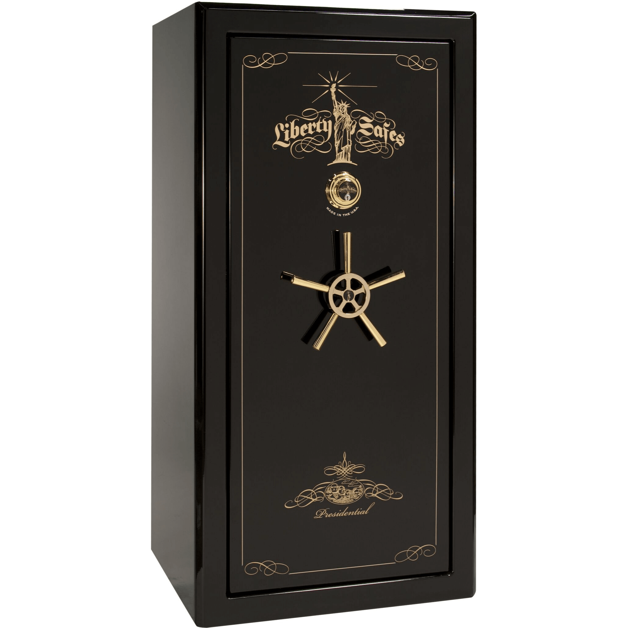 "Presidential | 25 | Level 8 Security | 150 Minute Fire Protection | Black Gloss | Brass Mechanical Lock | 60.5""(H) x 30""(W) x 29""(D)"
