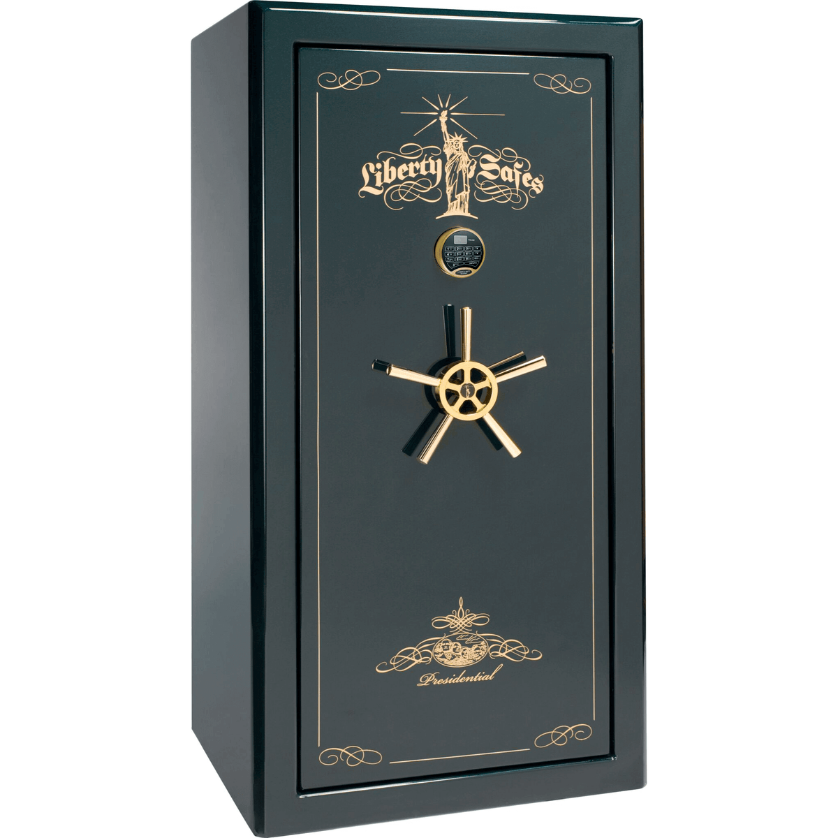 "Presidential | 25 | Level 8 Security | 150 Minute Fire Protection | Green Gloss | Brass Electronic Lock | 60.5""(H) x 30""(W) x 29""(D)"