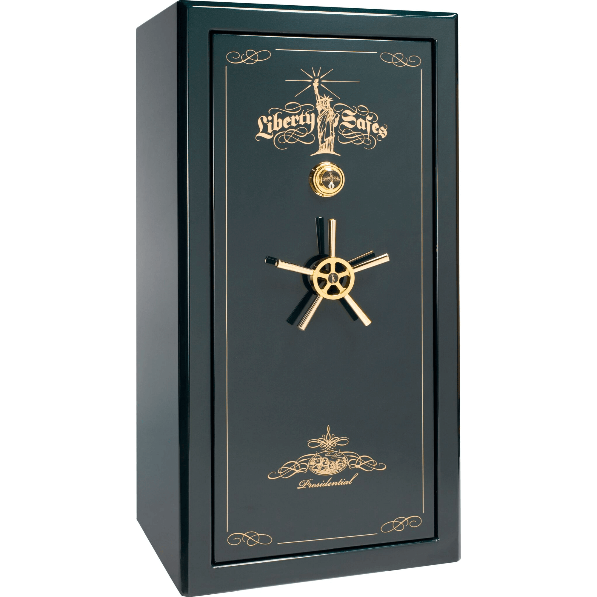 "Presidential | 25 | Level 8 Security | 150 Minute Fire Protection | Green Gloss | Brass Mechanical Lock | 60.5""(H) x 30""(W) x 29""(D)"