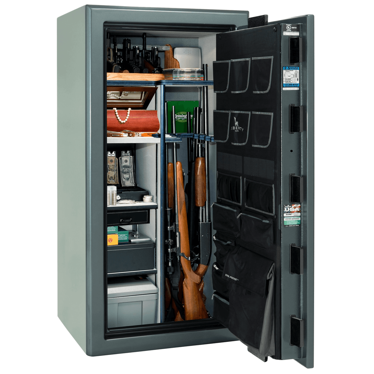 "Presidential | 25 | Level 8 Security | 150 Minute Fire Protection | Forest Mist Gloss | Black Mechanical Lock | 60.5""(H) x 30""(W) x 29""(D)"