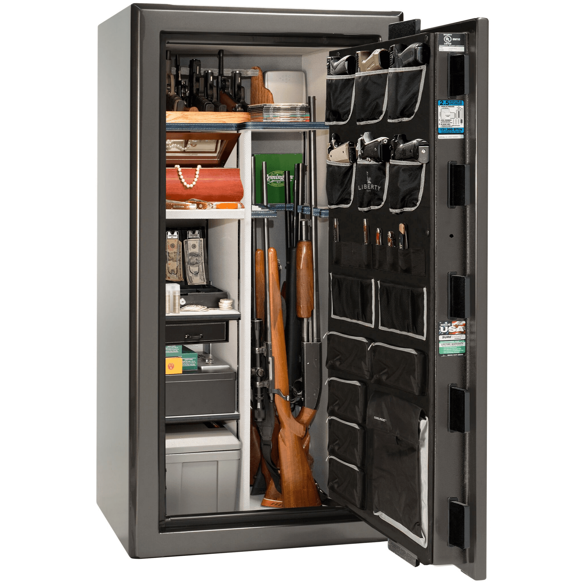"Presidential | 25 | Level 8 Security | 150 Minute Fire Protection | Gray Gloss | Black Mechanical Lock | 60.5""(H) x 30""(W) x 29""(D)"