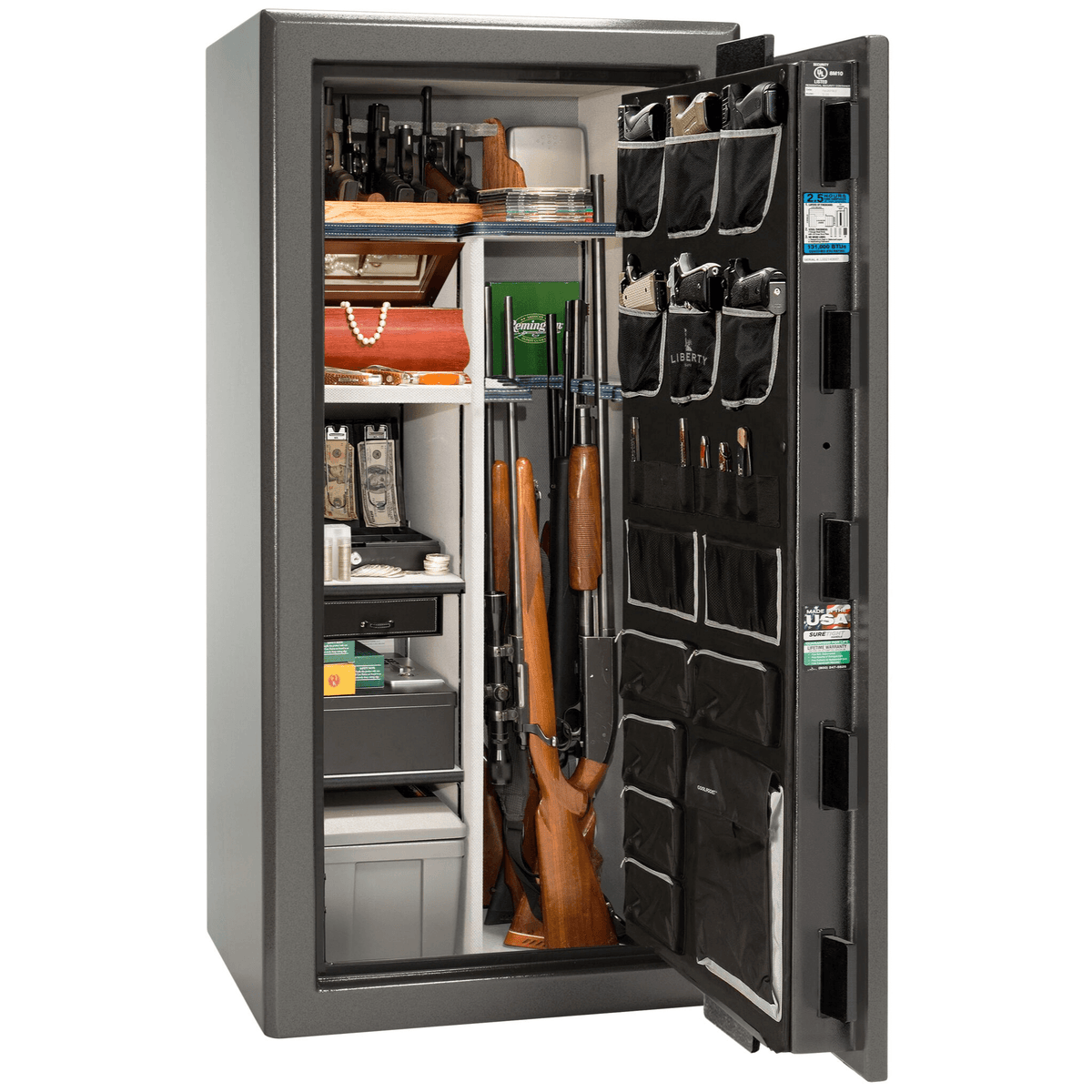 "Presidential | 25 | Level 8 Security | 150 Minute Fire Protection | Gray | Black Mechanical Lock | 60.5""(H) x 30""(W) x 29""(D)"