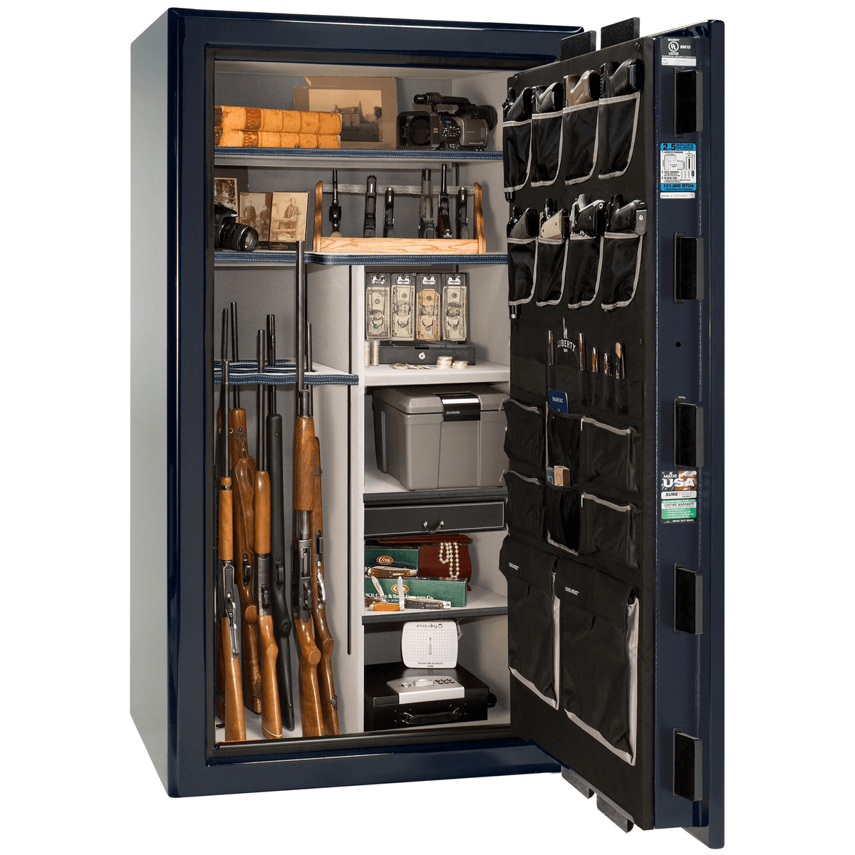 "Presidential | 40 | Level 8 Security | 150 Minute Fire Protection | Blue Gloss | Chrome Electronic Lock | 65.5""(H) x 36""(W) x 32""(D)"