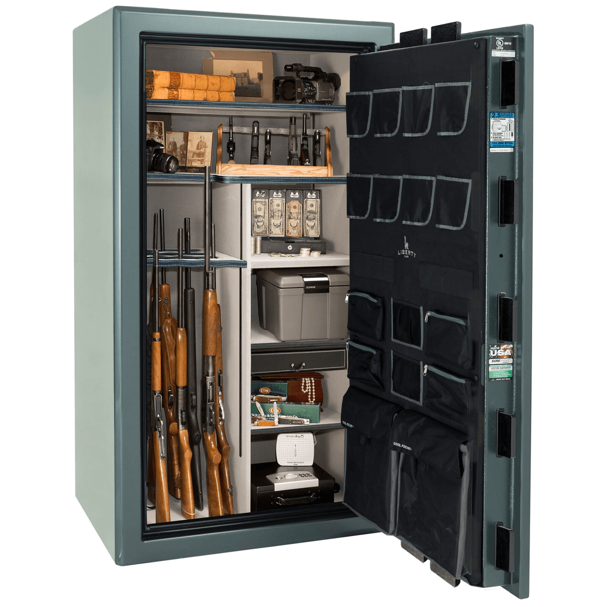 "Presidential | 40 | Level 8 Security | 150 Minute Fire Protection | Forest Mist Gloss | Black Mechanical Lock | 65.5""(H) x 36""(W) x 32""(D)"