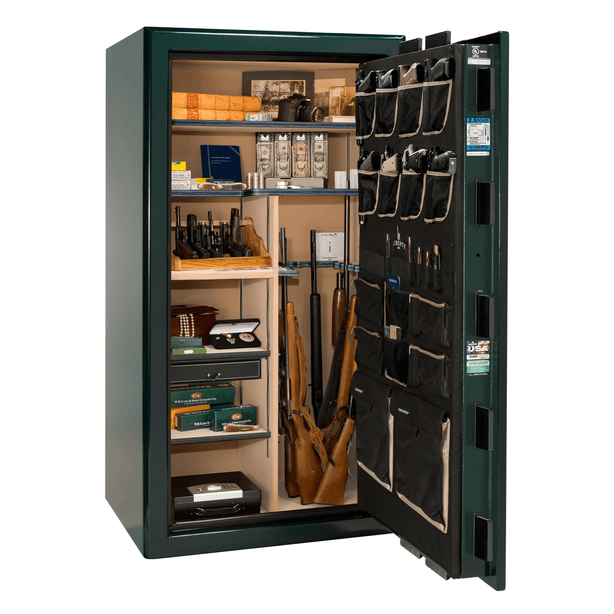 "Presidential | 40 | Level 8 Security | 150 Minute Fire Protection | Green Gloss | Brass Electronic Lock | 65.5""(H) x 36""(W) x 32""(D)"