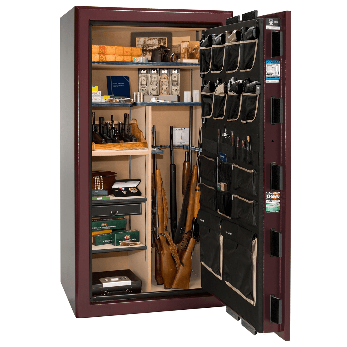 "Presidential | 40 | Level 8 Security | 150 Minute Fire Protection | Burgundy  | Black Electronic Lock | 65.5""(H) x 36""(W) x 32""(D)"