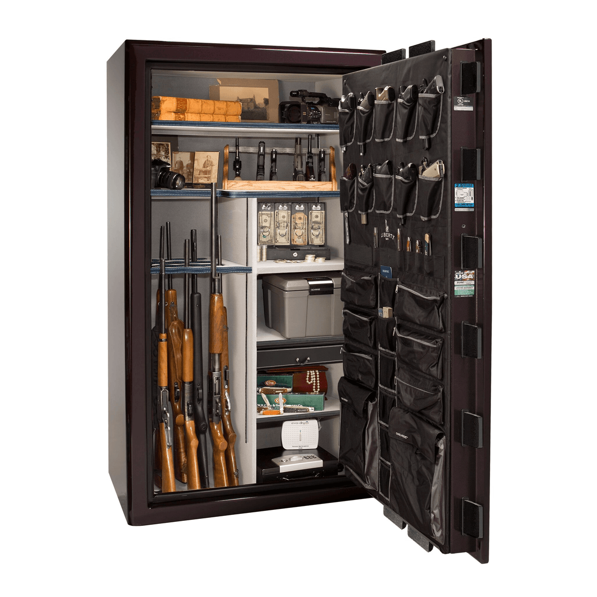 "Presidential | 50 | Level 8 Security | 150 Minute Fire Protection | Black Cherry Gloss | Black Electronic Lock | 72.5""(H) x 42""(W) x 32""(D)"