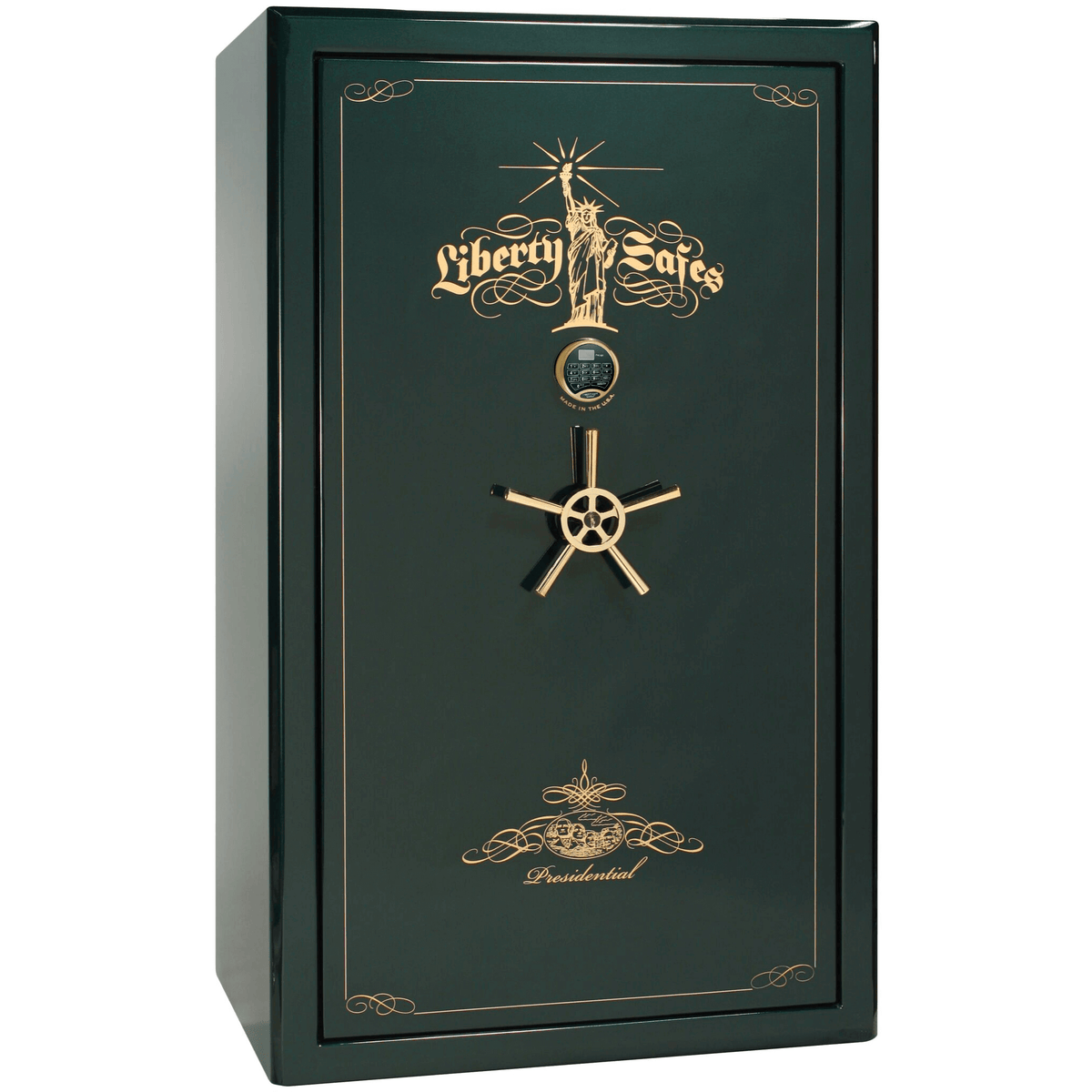 "Presidential | 50 | Level 8 Security | 150 Minute Fire Protection | Green Gloss | Brass Electronic Lock | 72.5""(H) x 42""(W) x 32""(D)"
