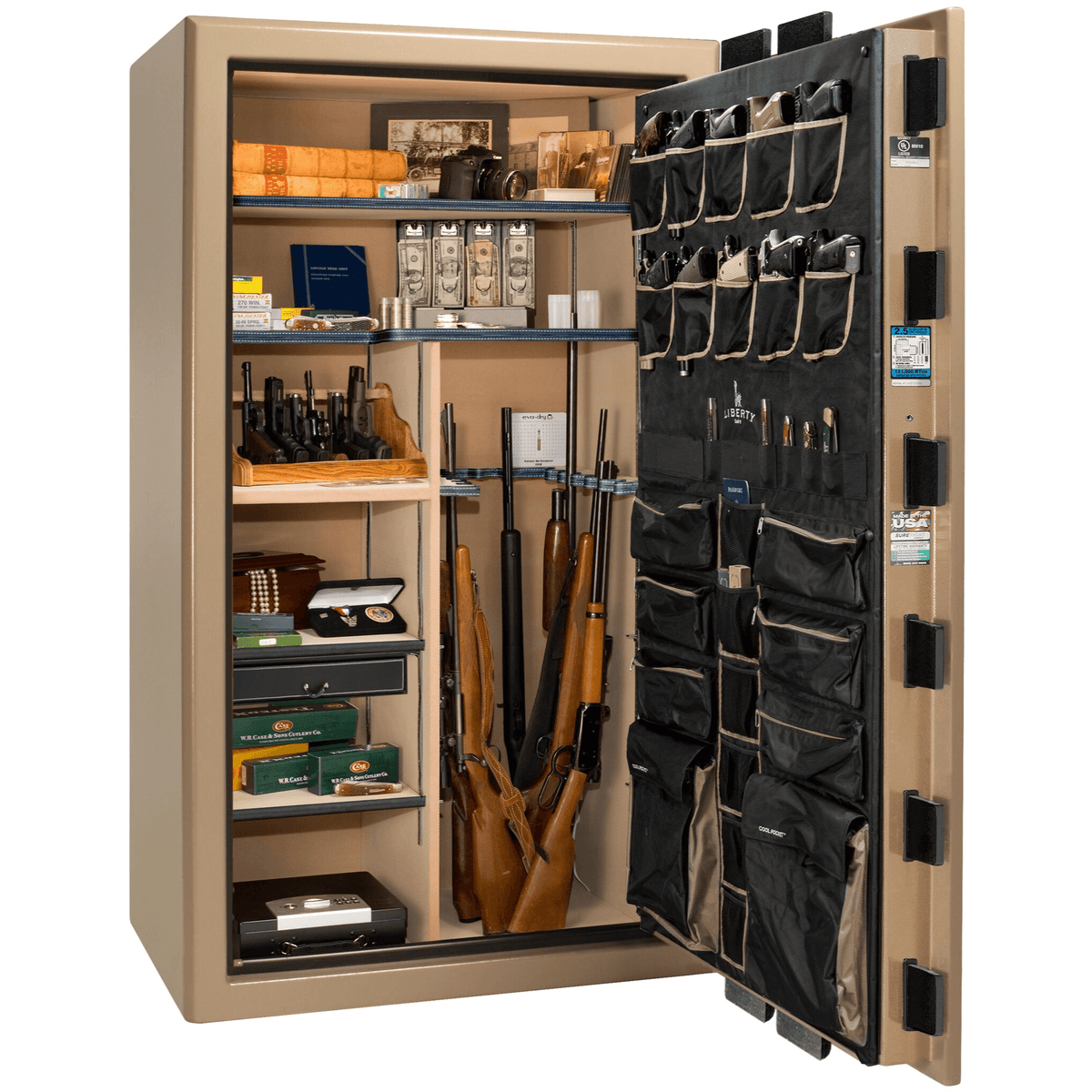 "Presidential | 50 | Level 8 Security | 150 Minute Fire Protection | Champagne | Black Electronic Lock | 72.5""(H) x 42""(W) x 32""(D)"