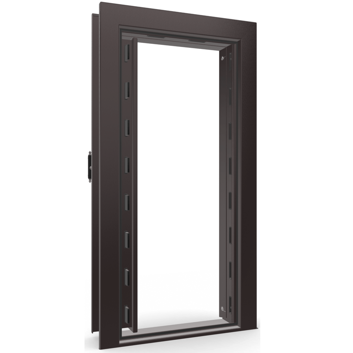 "Vault Door Left Inswing | Black Cherry Gloss | Black Electronic Lock | 81-85""(H) x 27-42""(W) x 7-10""(D)"