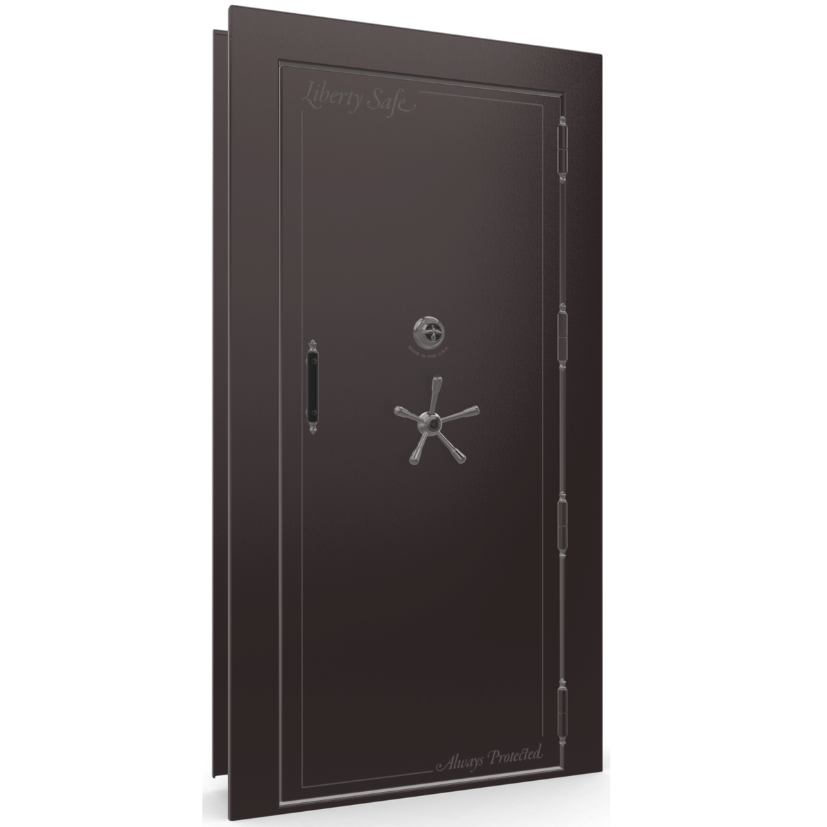 "Vault Door Right Outswing | Black Cherry Gloss | Black Mechanical Lock | 81-85""(H) x 27-42""(W) x 7-10""(D)"