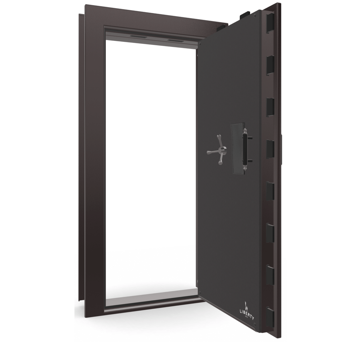 "Vault Door Right Outswing | Black Cherry Gloss | Black Electronic Lock | 81-85""(H) x 27-42""(W) x 7-10""(D)"