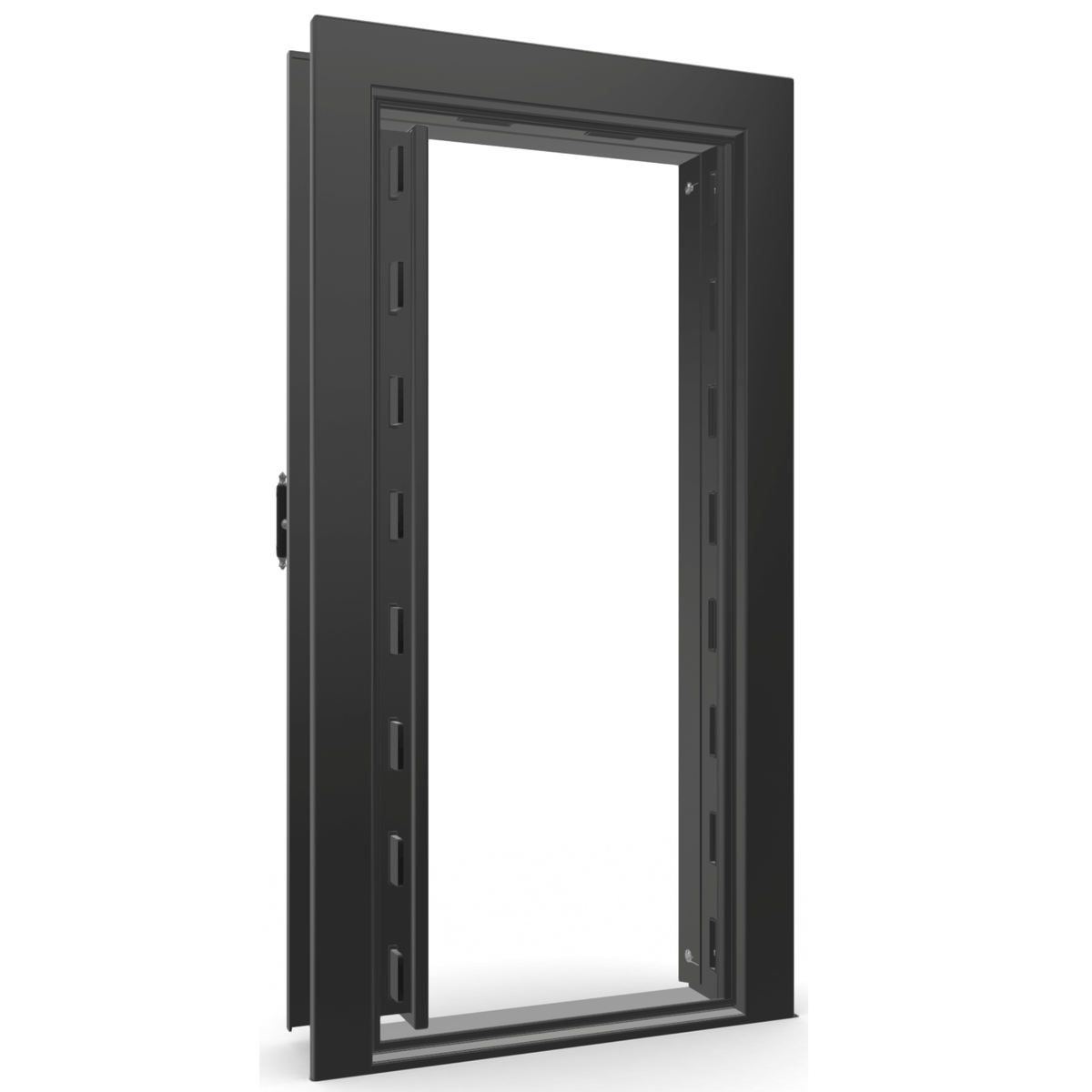 "Vault Door Left Inswing | Black Gloss | Black Electronic Lock | 81-85""(H) x 27-42""(W) x 7-10""(D)"