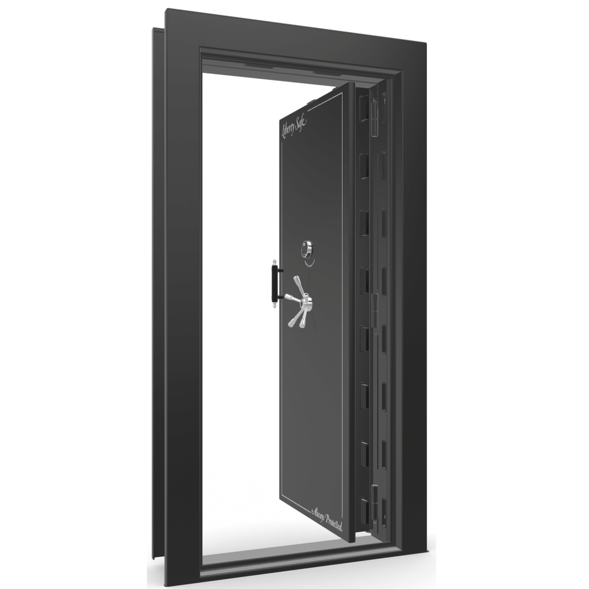 "Vault Door Right Inswing | Black Gloss | Chrome Electronic Lock | 81-85""(H) x 27-42""(W) x 7-10""(D)"