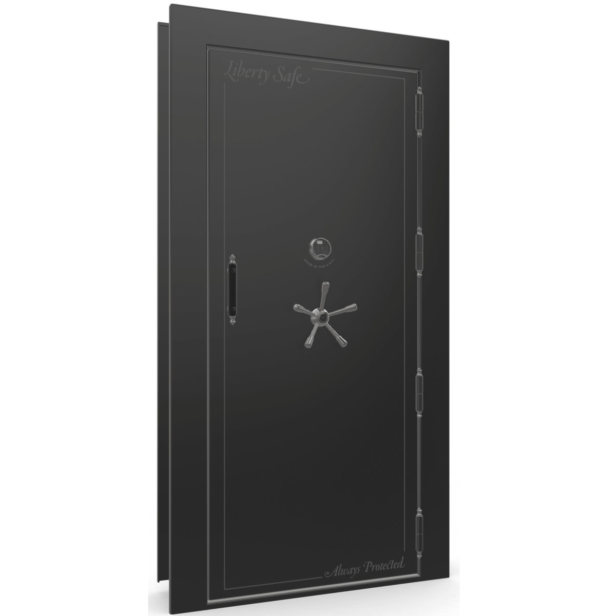 "Vault Door Right Outswing | Black Gloss | Black Electronic Lock | 81-85""(H) x 27-42""(W) x 7-10""(D)"