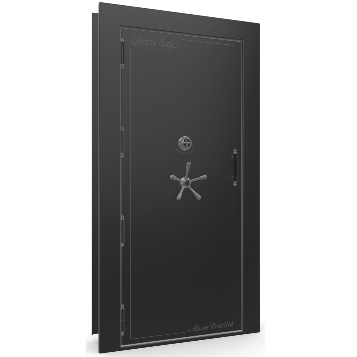 "Vault Door Left Outswing | Black Gloss | Black Mechanical Lock | 81-85""(H) x 27-42""(W) x 7-10""(D)"