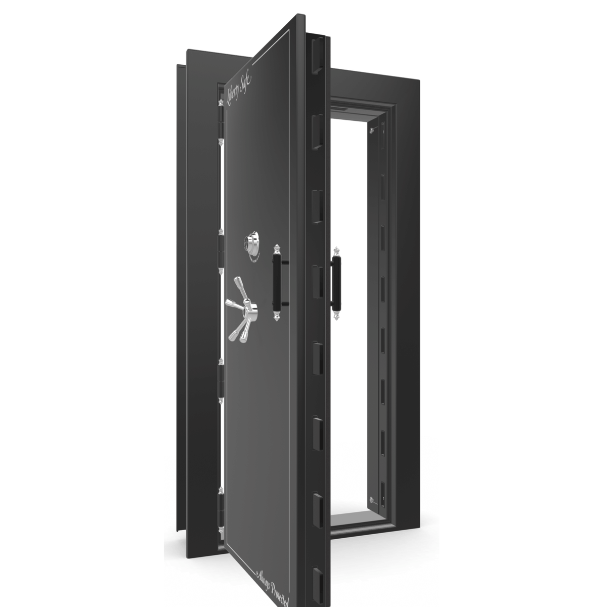"Vault Door Left Outswing | Black Gloss | Chrome Mechanical Lock | 81-85""(H) x 27-42""(W) x 7-10""(D)"