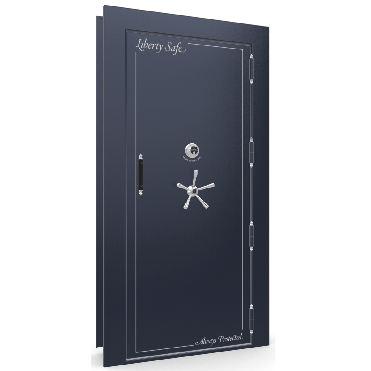 "Vault Door Right Outswing | Blue Gloss | Chrome Mechanical Lock | 81-85""(H) x 27-42""(W) x 7-10""(D)"