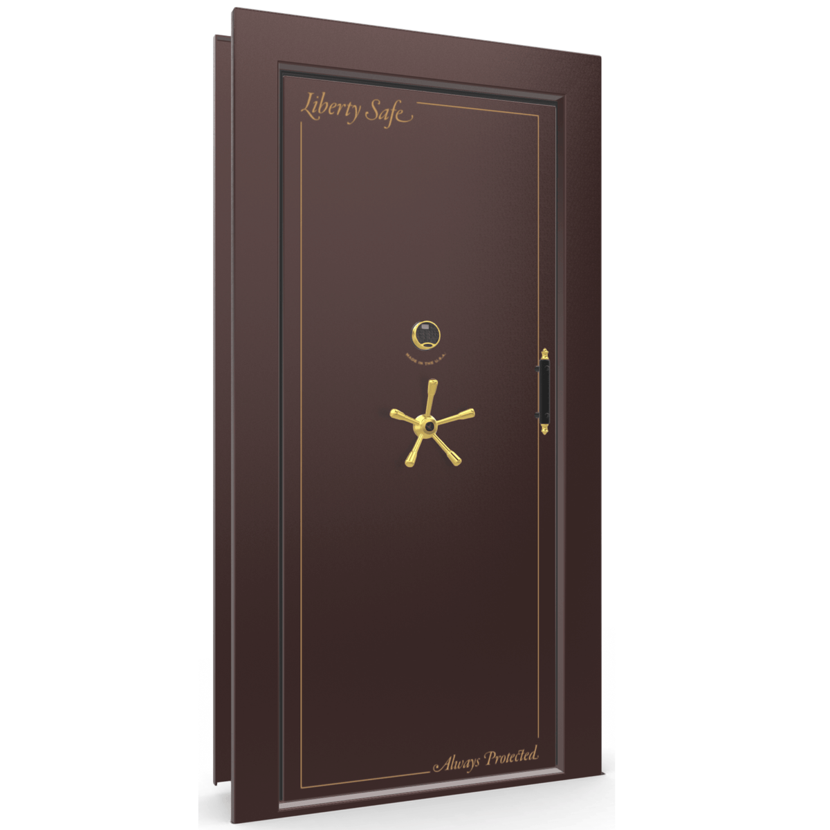 "Vault Door Left Inswing | Burgundy Gloss | Brass Electronic Lock | 81-85""(H) x 27-42""(W) x 7-10""(D)"