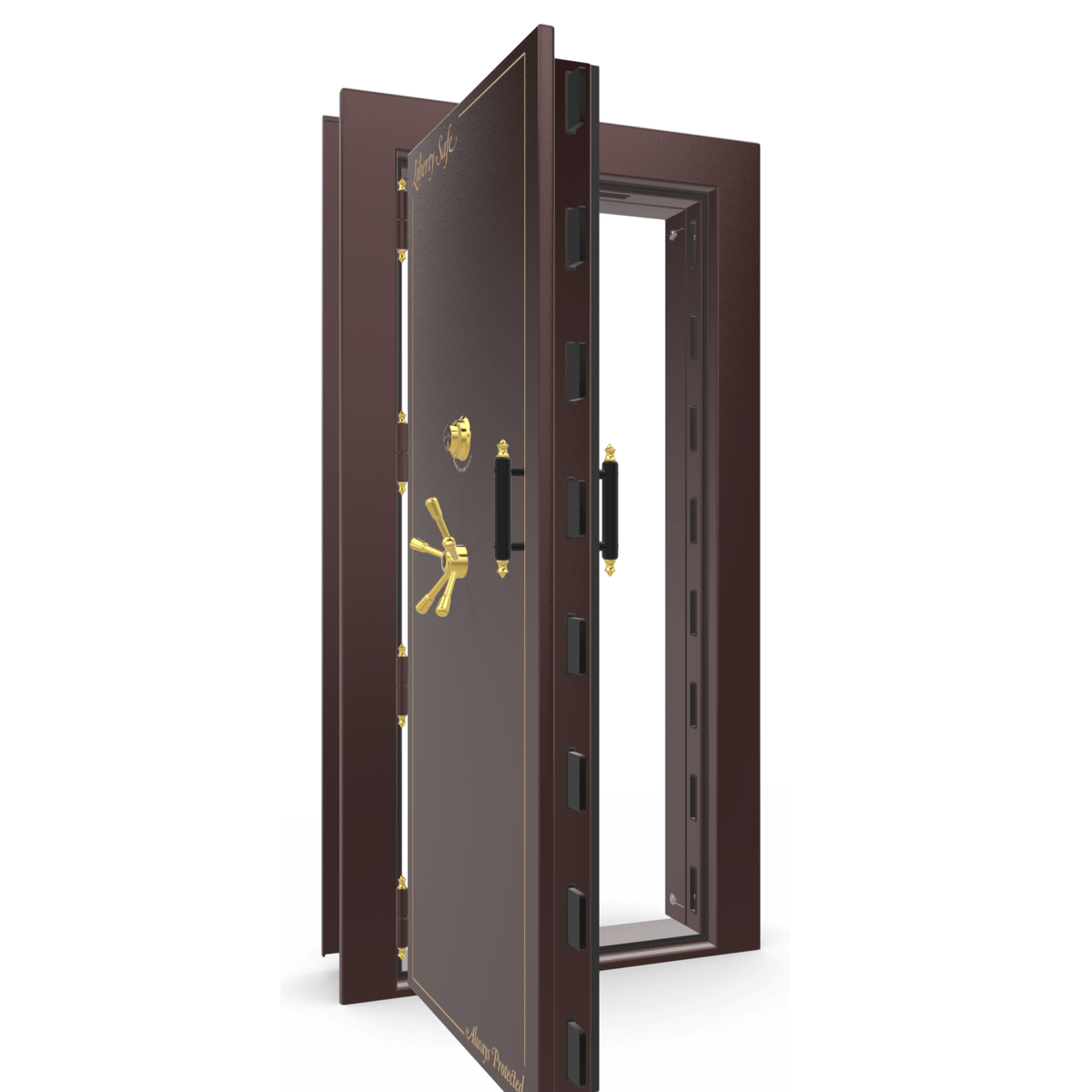 "Vault Door Left Outswing | Burgundy Gloss | Brass Mechanical Lock | 81-85""(H) x 27-42""(W) x 7-10""(D)"