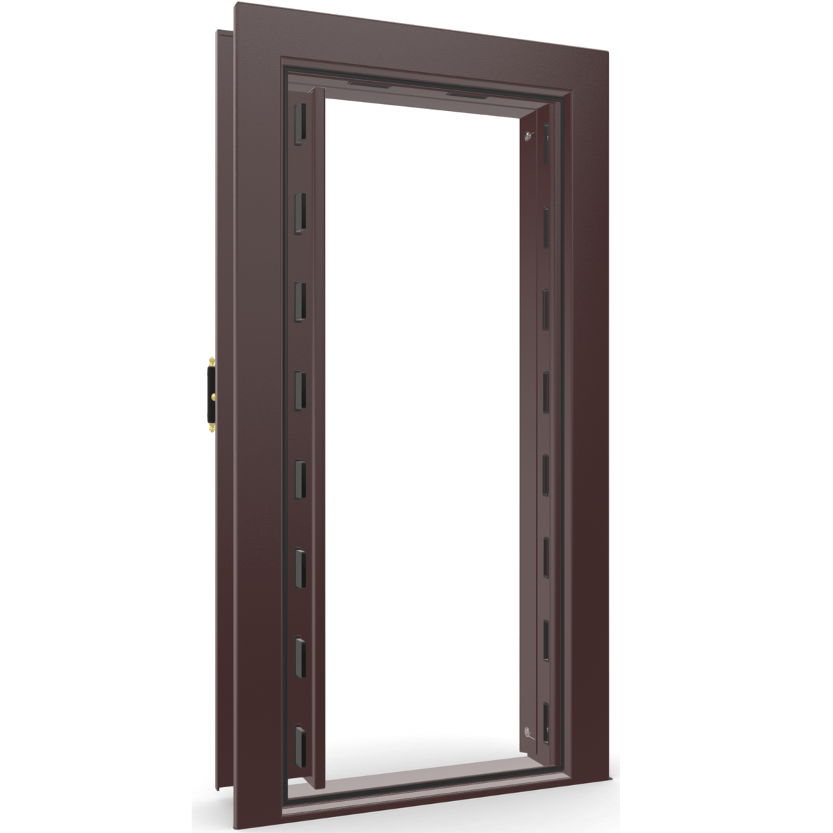 "Vault Door Left Inswing | Burgundy | Brass Electronic Lock | 81-85""(H) x 27-42""(W) x 7-10""(D)"