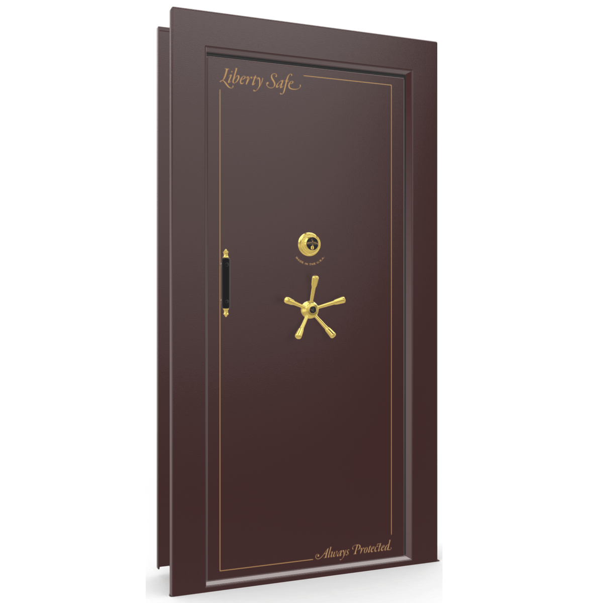 "Vault Door Right Inswing | Burgundy | Brass Mechanical Lock | 81-85""(H) x 27-42""(W) x 7-10""(D)"