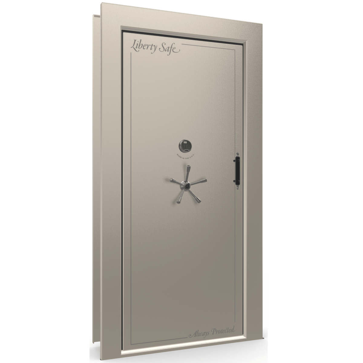 "Vault Door Left Inswing | Champagne Gloss | Black Electronic Lock | 81-85""(H) x 27-42""(W) x 7-10""(D)"