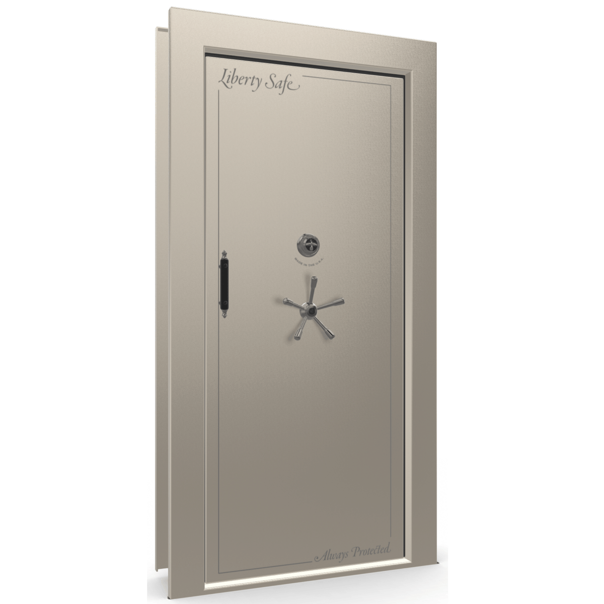 "Vault Door Right Inswing | Champagne Gloss | Black Mechanical Lock | 81-85""(H) x 27-42""(W) x 7-10""(D)"