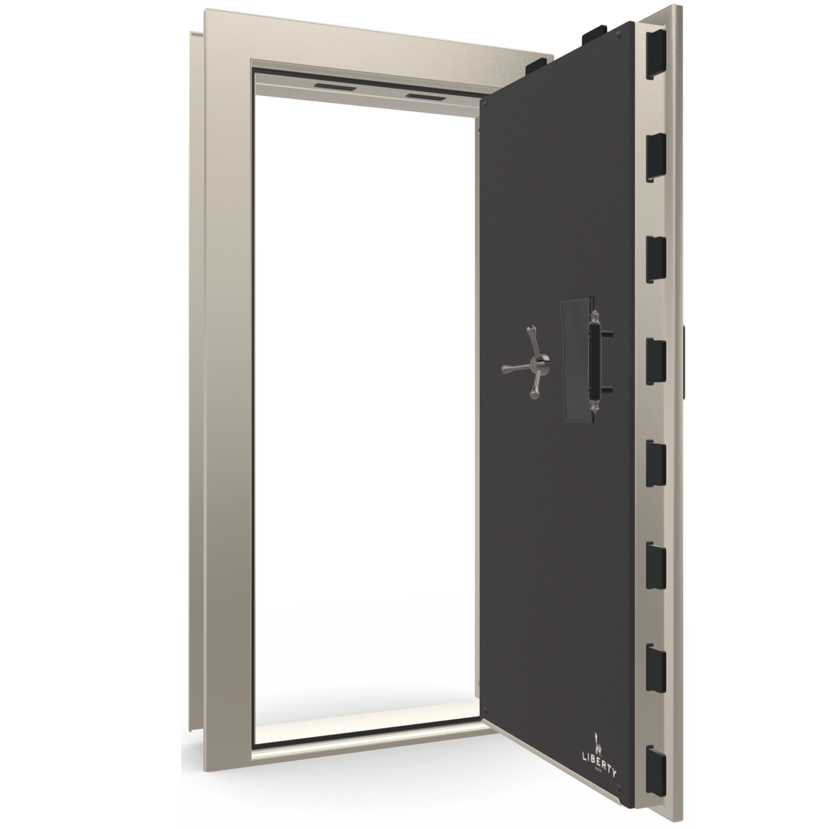 "Vault Door Right Outswing | Champagne Gloss | Black Mechanical Lock | 81-85""(H) x 27-42""(W) x 7-10""(D)"