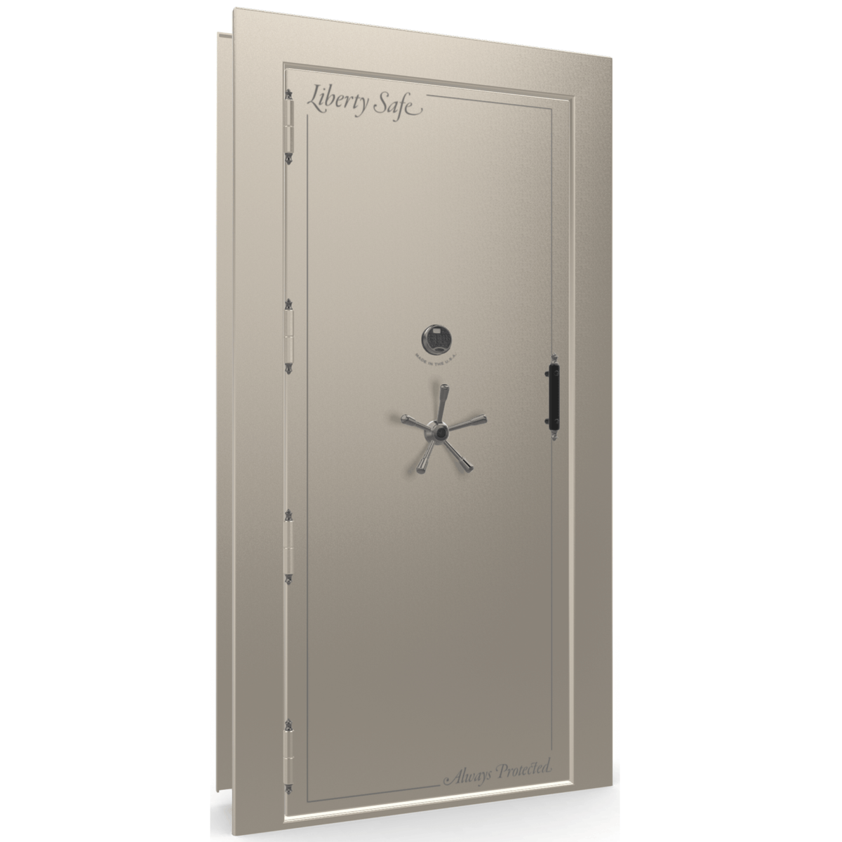 "Vault Door Left Outswing | Champagne Gloss | Black Electronic Lock | 81-85""(H) x 27-42""(W) x 7-10""(D)"