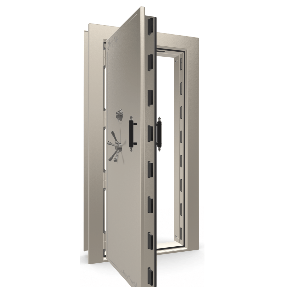 "Vault Door Left Outswing | Champagne Gloss | Black Mechanical Lock | 81-85""(H) x 27-42""(W) x 7-10""(D)"