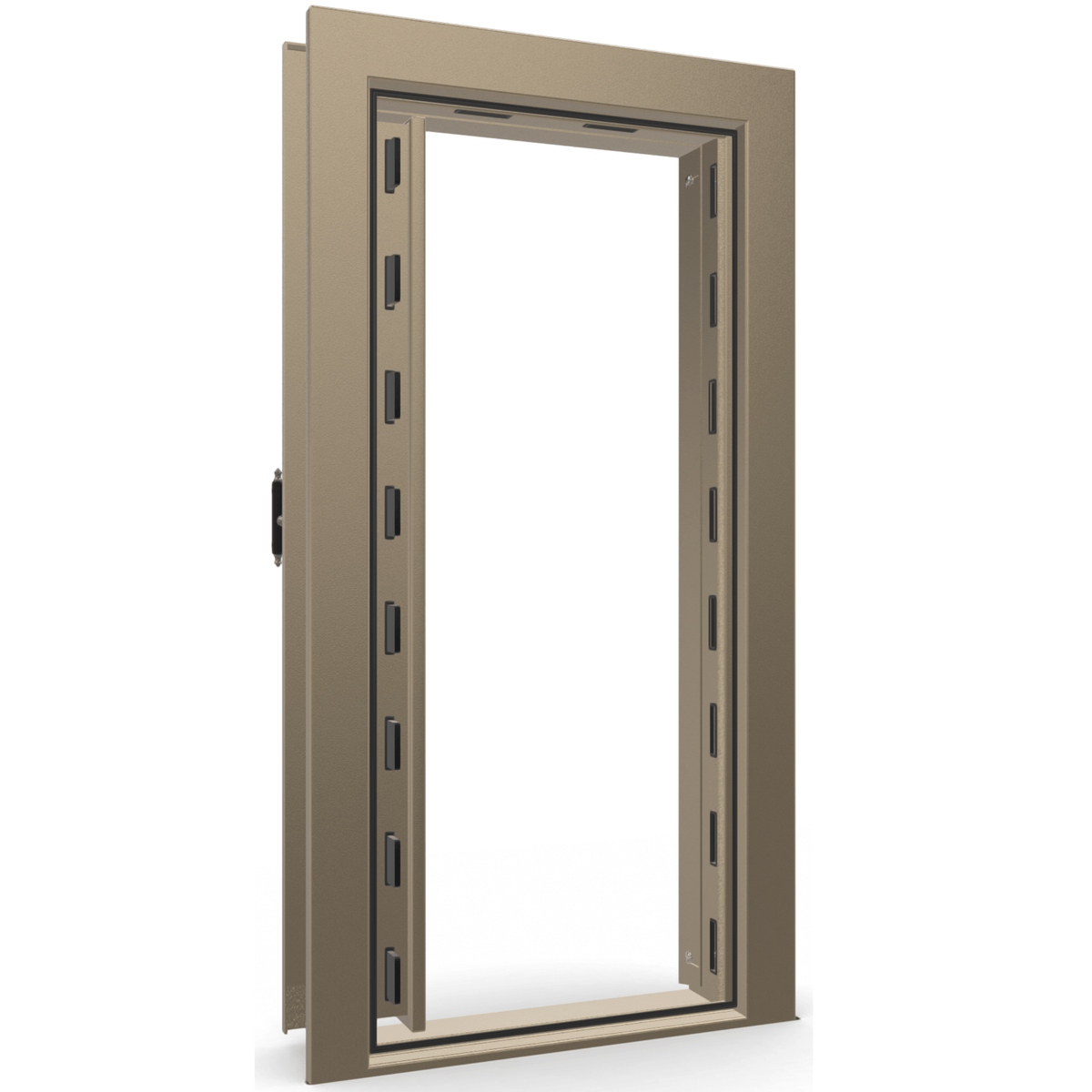 "Vault Door Left Inswing | Champagne | Black Mechanical Lock | 81-85""(H) x 27-42""(W) x 7-10""(D)"