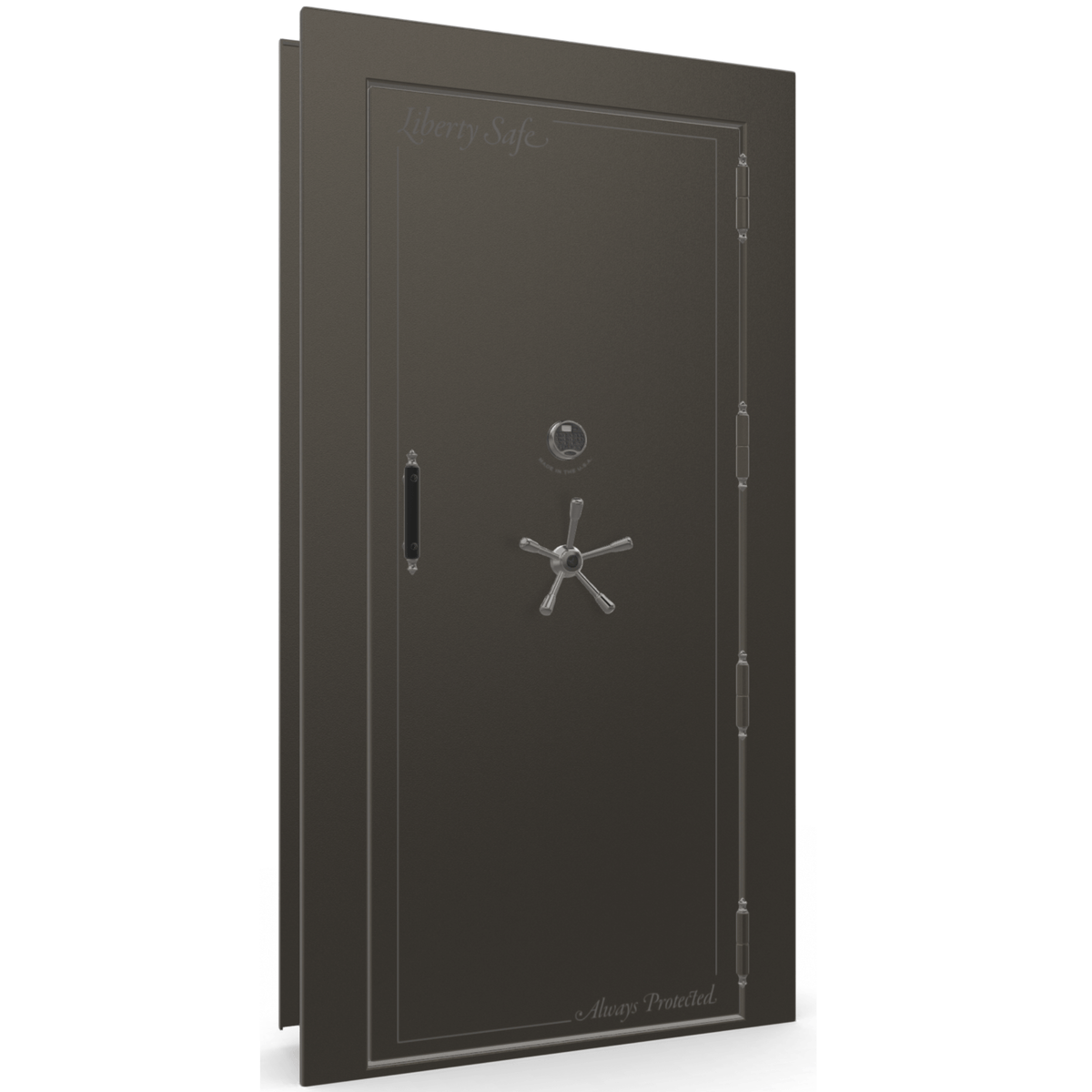 "Vault Door Right Outswing | Gray | Black Electronic Lock | 81-85""(H) x 27-42""(W) x 7-10""(D)"
