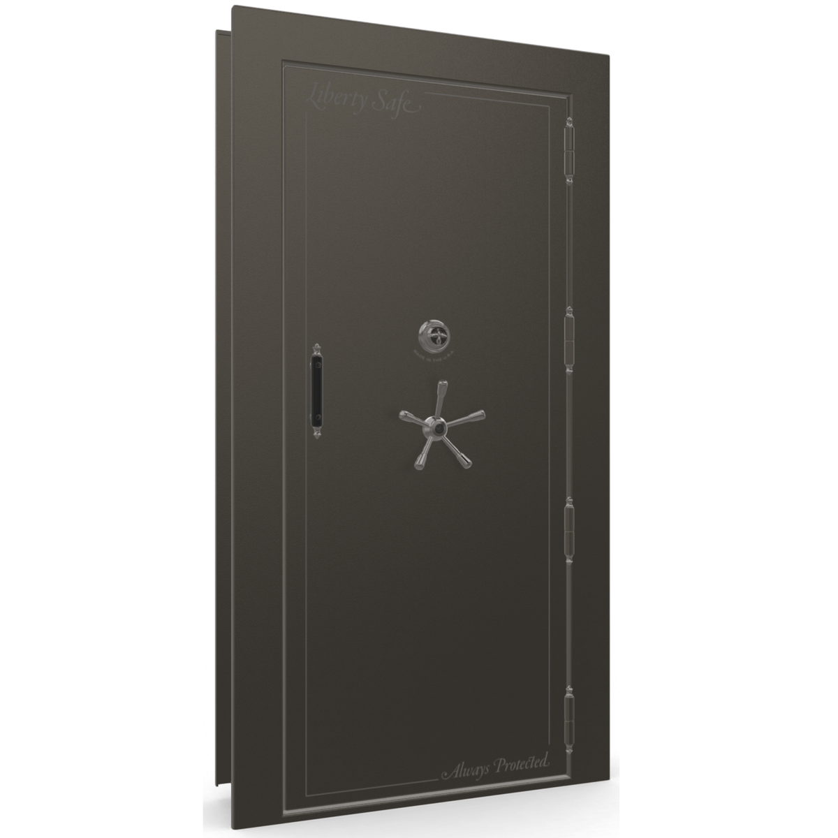 "Vault Door Right Outswing | Gray | Black Mechanical Lock | 81-85""(H) x 27-42""(W) x 7-10""(D)"