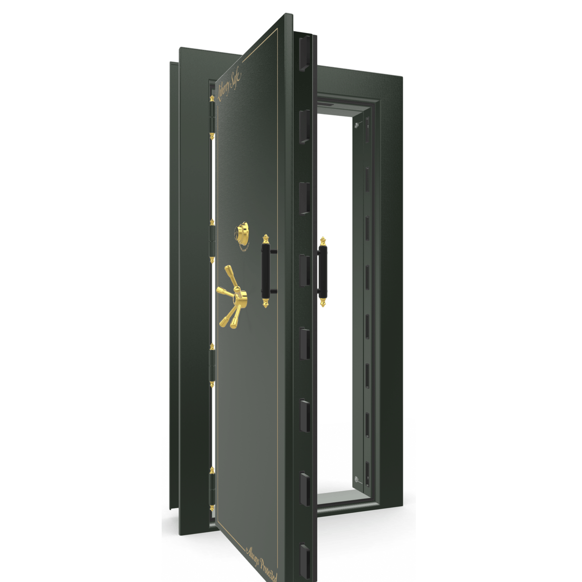 "Vault Door Left Outswing | Green Gloss | Brass Electronic Lock | 81-85""(H) x 27-42""(W) x 7-10""(D)"