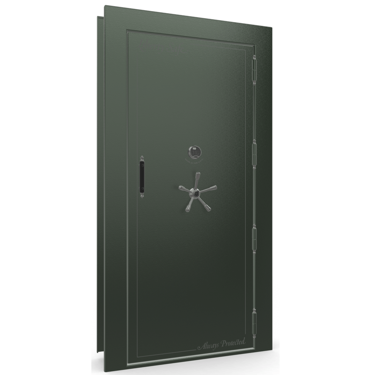 "Vault Door Right Outswing | Green | Black Electronic Lock | 81-85""(H) x 27-42""(W) x 7-10""(D)"