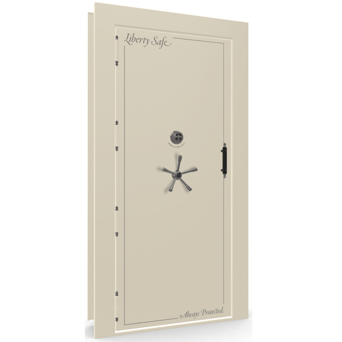 "Vault Door Left Outswing | White Gloss | Black Mechanical Lock | 81-85""(H) x 27-42""(W) x 7-10""(D)"