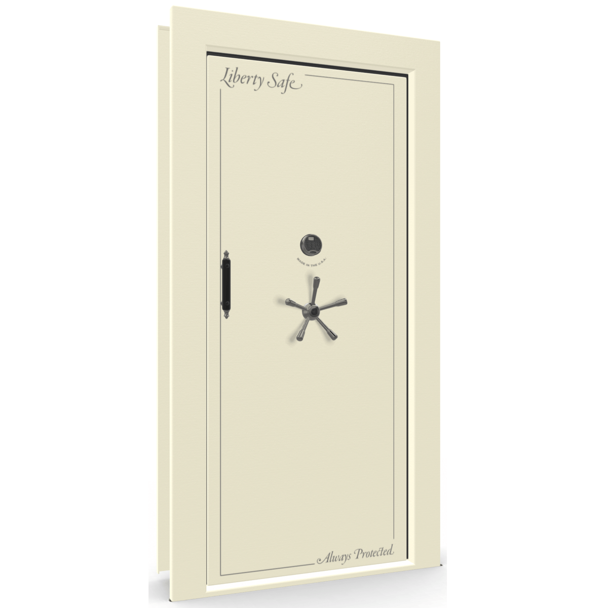 "Vault Door Right Inswing | White | Black Electronic Lock | 81-85""(H) x 27-42""(W) x 7-10""(D)"