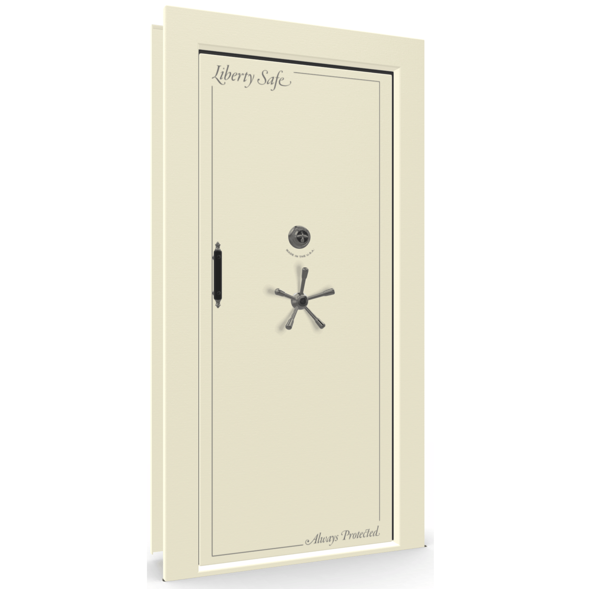 "Vault Door Right Inswing | White | Black Mechanical Lock | 81-85""(H) x 27-42""(W) x 7-10""(D)"