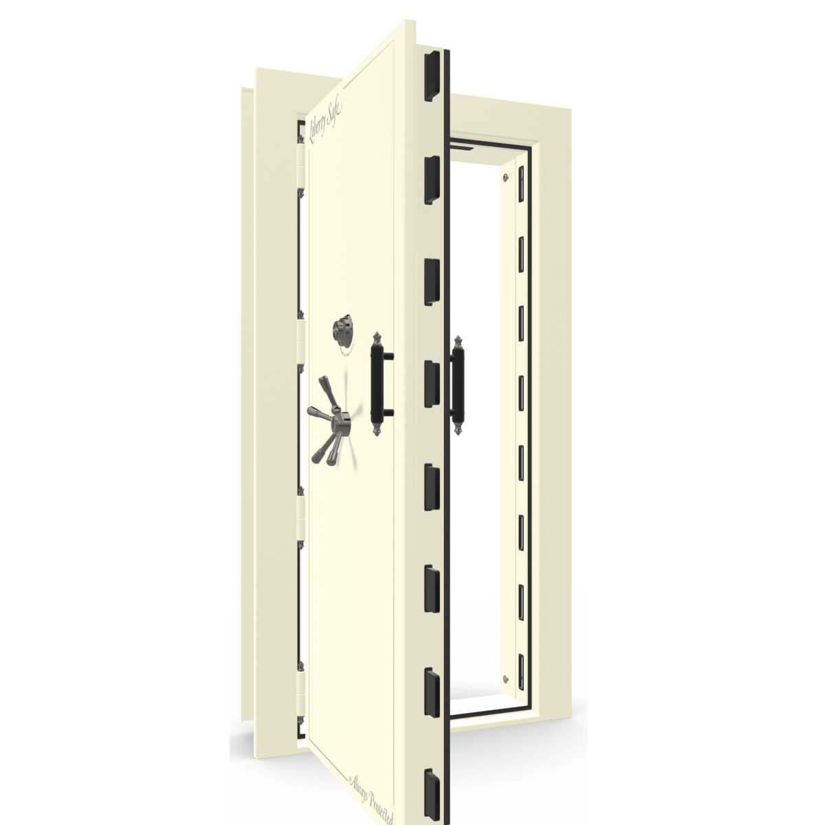 "Vault Door Left Outswing | White | Black Mechanical Lock | 81-85""(H) x 27-42""(W) x 7-10""(D)"