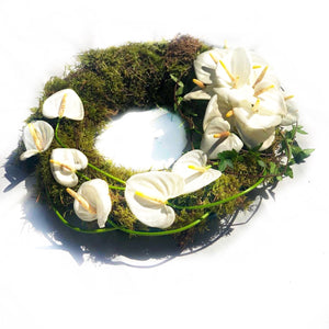 White Anthurium Wreath