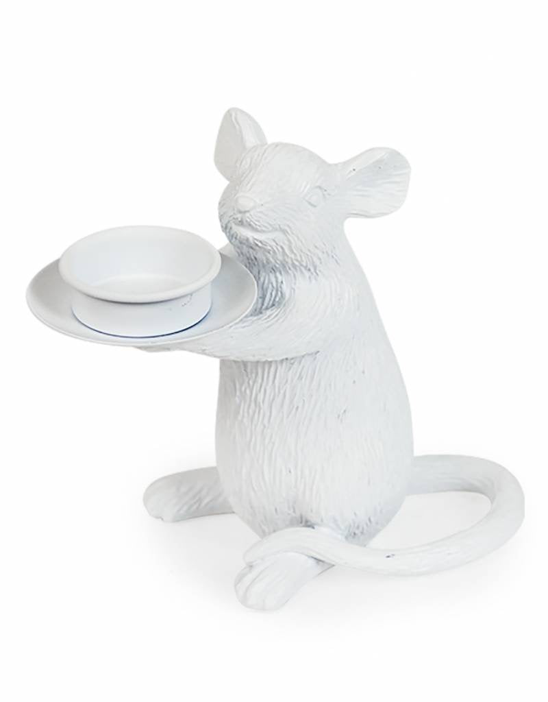 White mouse tea light holder