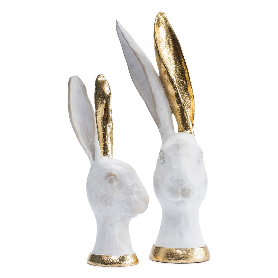 White and Gold Hares x2