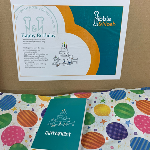 A close up of the inside messaging for the birthday dog treat box