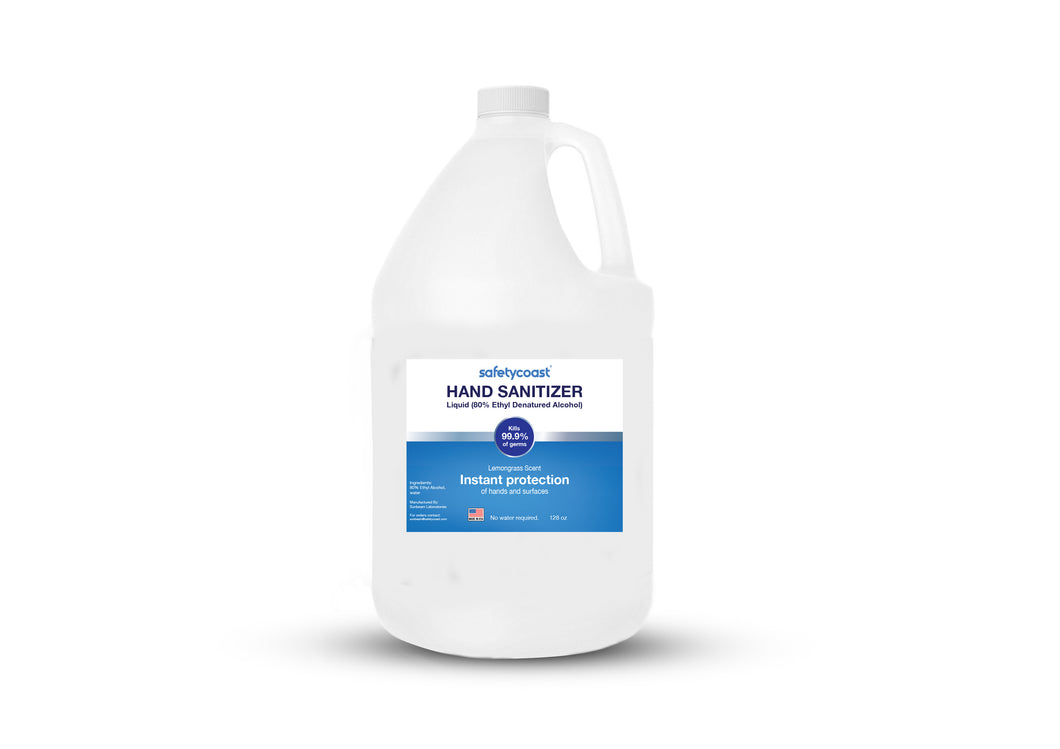 SafetyCoast 128 oz Liquid Hand Sanitizer Gallon Unscented (4 Gallons per case)