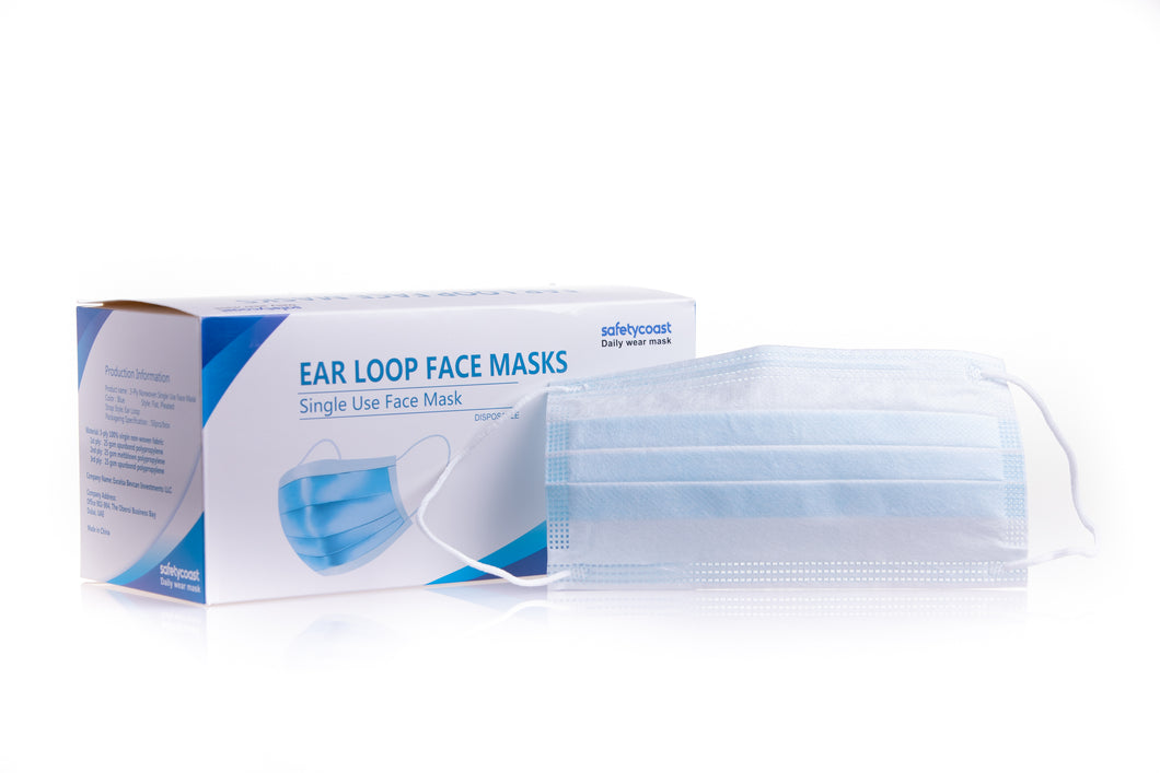 SafetyCoast 3-Ply Ear Loop Face Masks 50 per Box