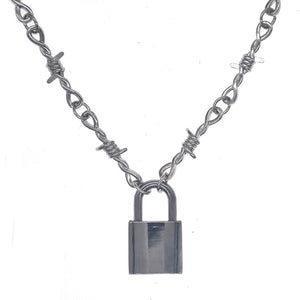 Barbed Wire Padlock Pendant Necklace