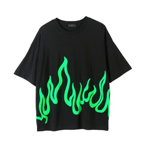 Oversized Green Flame Print Tee