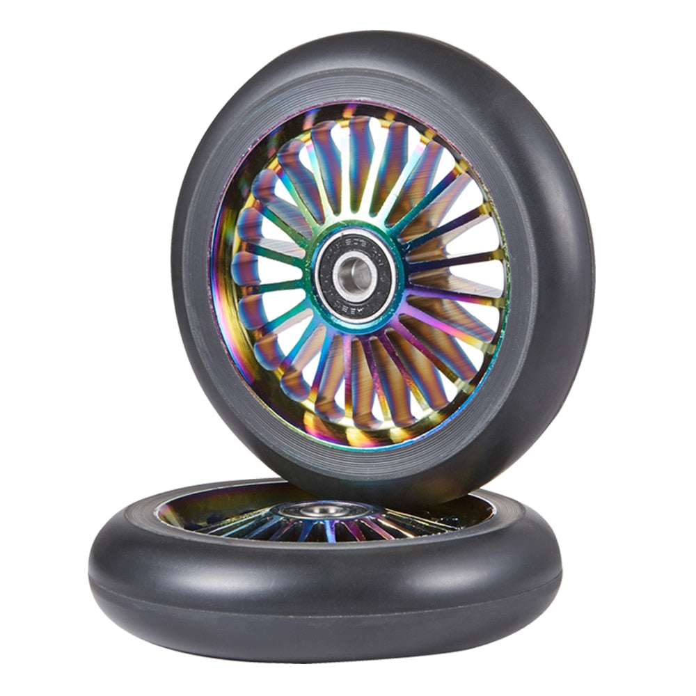 2pcs Oil Slick 110mm Pro Stunt Scooter Wheels with ABEC-11 Bearings